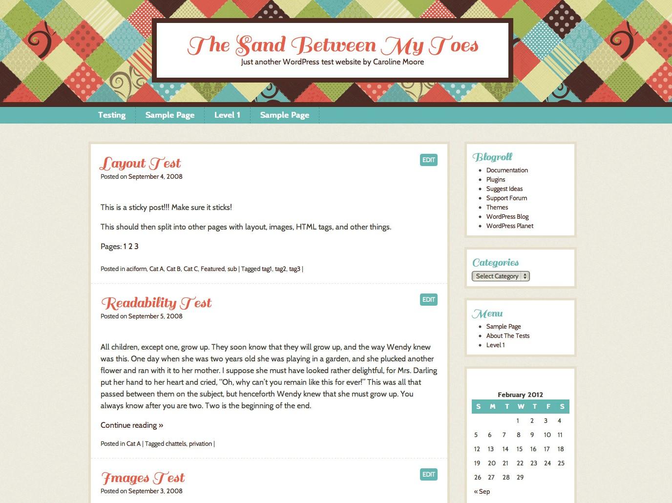 Patchwork Free WordPress Theme - Sunny Style